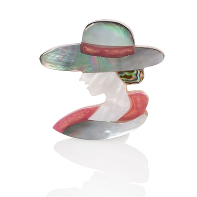 Art Deco Style Abalone Shell and Mother of Pearl Brooch Left Facing