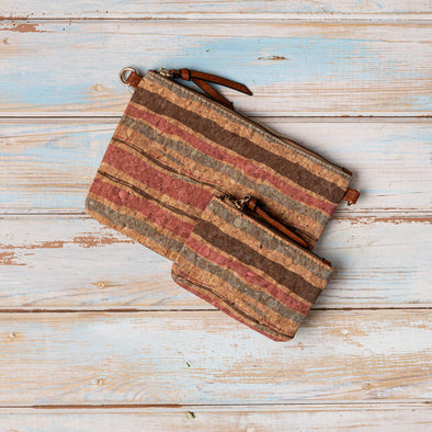 Autumn Stripe Cork Handbag and Purse Set