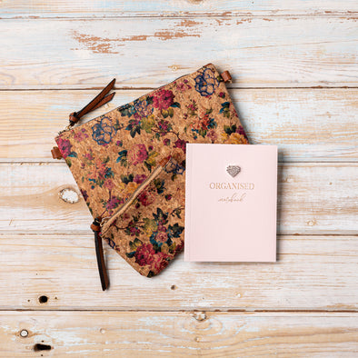 Autumn Roses Exclusive Cork Handbag Purse and Notebook Set