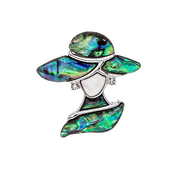 Abalone lady in hat with crystal earrings