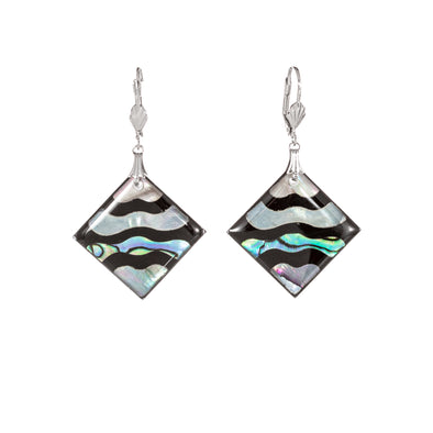 Abalone and mother of pearl square earrings wave