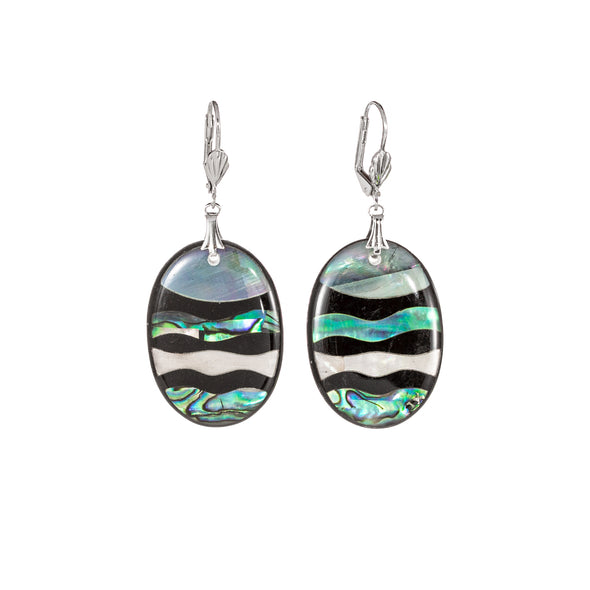 Abalone and mother of pearl oval earrings