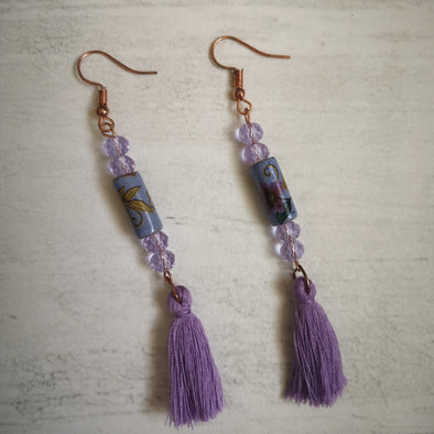 Lilac Ceramic and bead boho vintage style long tassel earrings