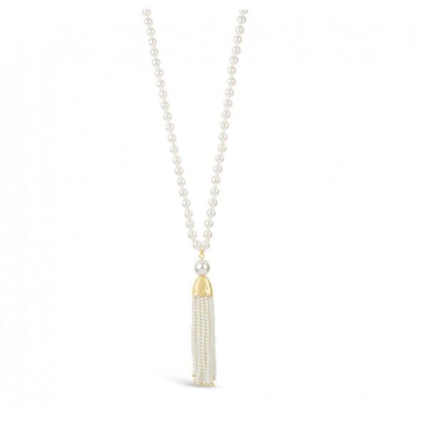 Long gold plated pearl tassel necklace