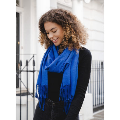 Luxury  pashmina royal blue on model