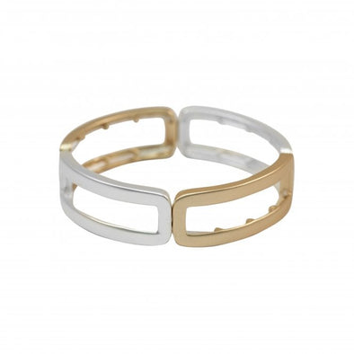 Matt silver and gold plated elasticated stretch bracelet
