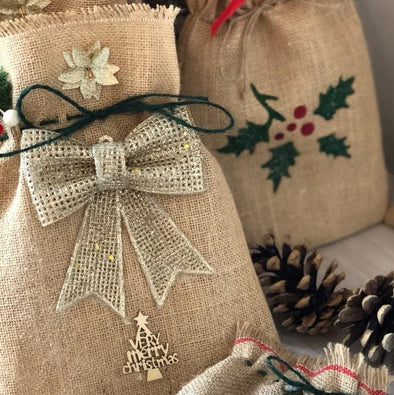 Handmade Christmas Medium Hessian Gold Bow Gift Bag