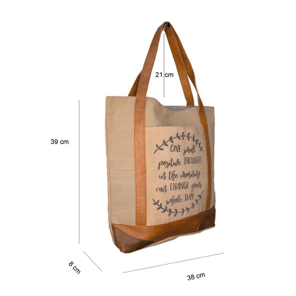 Motivational quote cream recycled canvas bag measurements