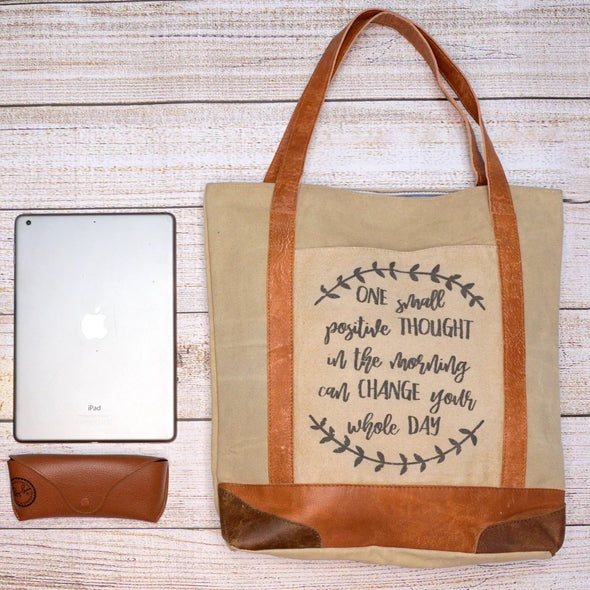 Motivational quote cream recycled canvas with ipad bag