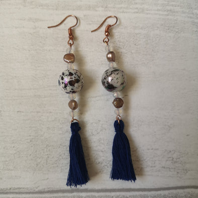Navy vintage style earrings with beads and tassels