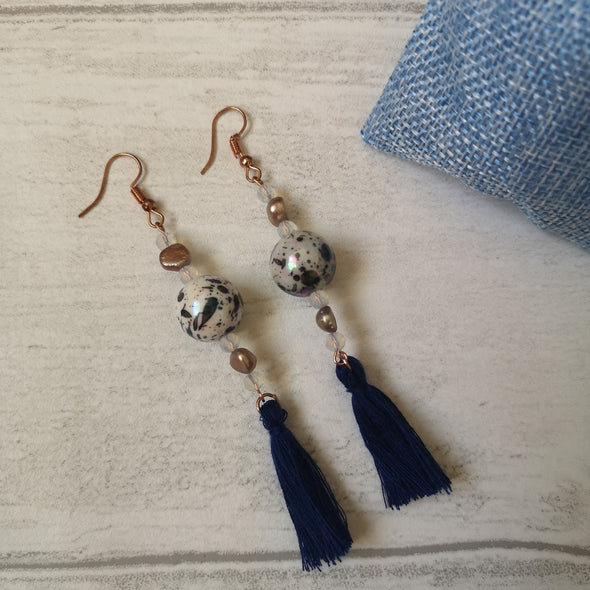 Navy vintage style earrings with beads and tassels with hessian bag