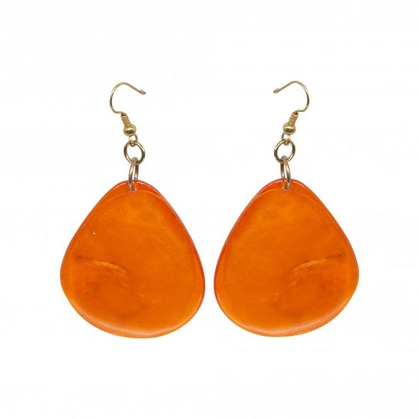 Orange toned resin statement earrings