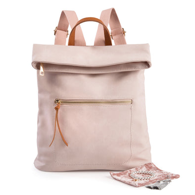 Pastel pink soft feel backpack with bracelet and pink velvet pouch