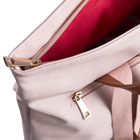 Pastel pink soft feel backpack inside view