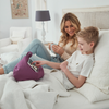 lady and little boy with iBeanie digital beanbag stand showing iPhone device standing or resting on it in purple fabric
