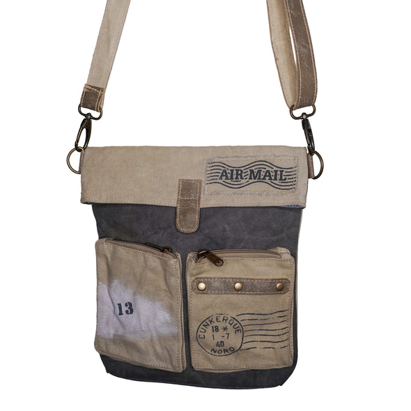 Recycled Khaki Cross Body Vintage Small Canvas Travel Bag