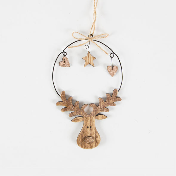 Rudolph reindeer festive Christmas handing decoration with star and hearts in bronze and wood