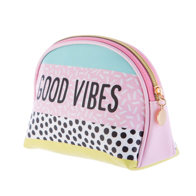 Sass and Belle good vibes pouch in pink, black blue and yellow for make up, pencil case or mobile accessories
