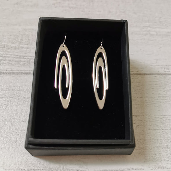 silver plated swirl drop earrings in box