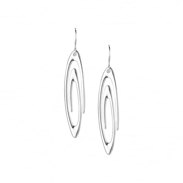 silver plated swirl drop earrings