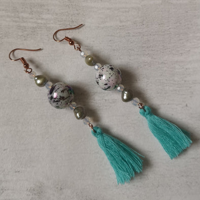 Turquoise tassel earrings Side view