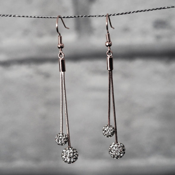 Razzle Dazzle Crystal Long Drop Earrings in Silver with Gift Box