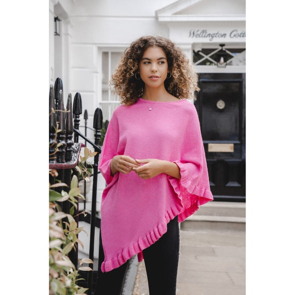 wild rose pink cashmere mix poncho on model