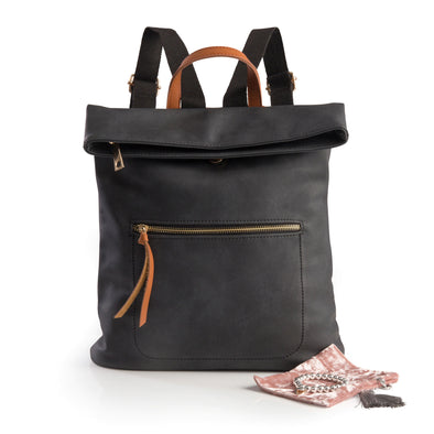 Charcoal Soft Feel Backpack and Silver Bracelet with Charm Gift Set
