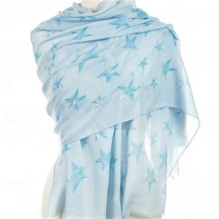light weight cotton pale blue scarf with dark blue and silver shimmering stars all over it