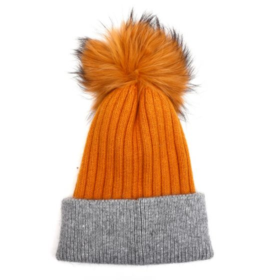 Pom Pom Woolen Ribbed Bobble Hat in Mustard and Grey