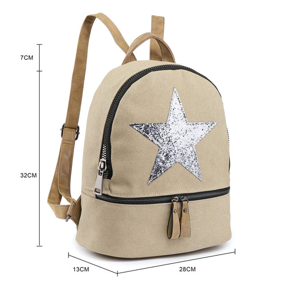 Sparkling Sequin Star Canvas Rucksack - Small