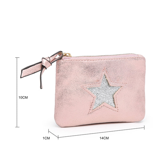 small soft coin purse dimensions with zip and star on the front variable colour options