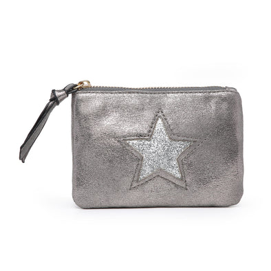 small soft coin purse with zip and star on the front variable colour options