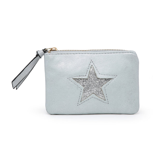 Aqua Sparkling Sequin Star Zip Top Purse