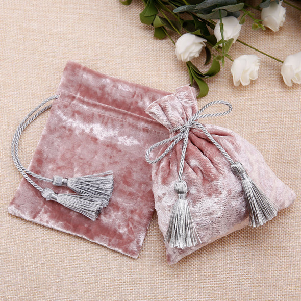 Free pink velvet gift pouch with grey tassels for jewellery