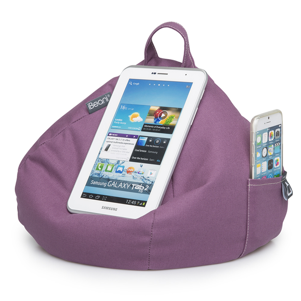 iBeanie digital beanbag showing iPhone device standing or resting on it in purple fabric