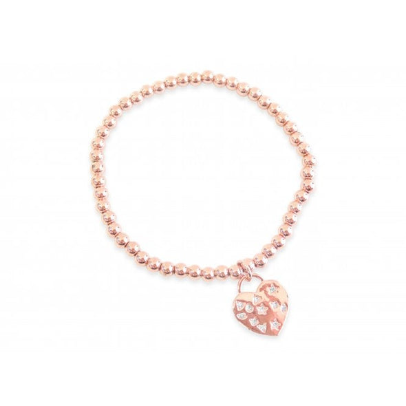 rose gold plated and cubic zirconia heart bracelet