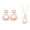 rose gold loop design earrings and marching necklace gift set with free gift box