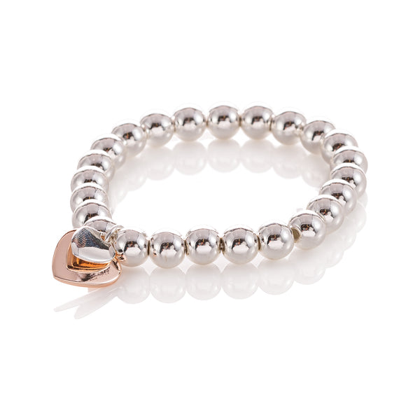 Silver Ball Bracelet with Double Rose Gold and Silver Heart Charm