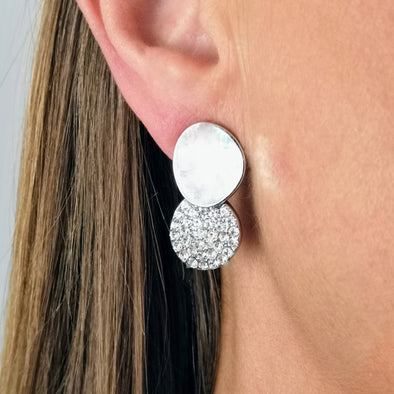 double disc crystal and silver pierced earrings