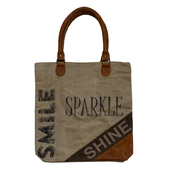 smile sparkle shine logo recycled shopper