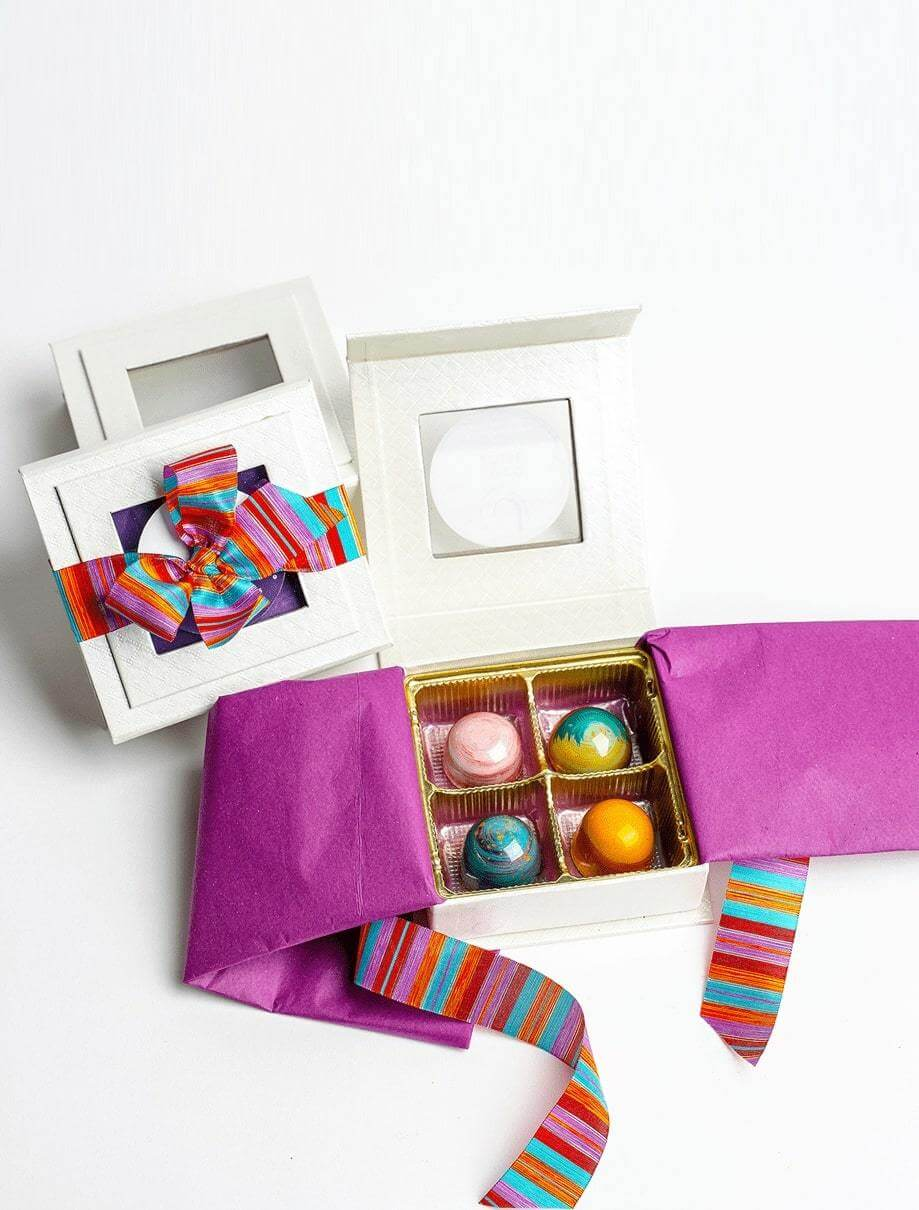 Four Piece Chocolate Gift Box - Gourmet Chocolates and Handmade Bonbons