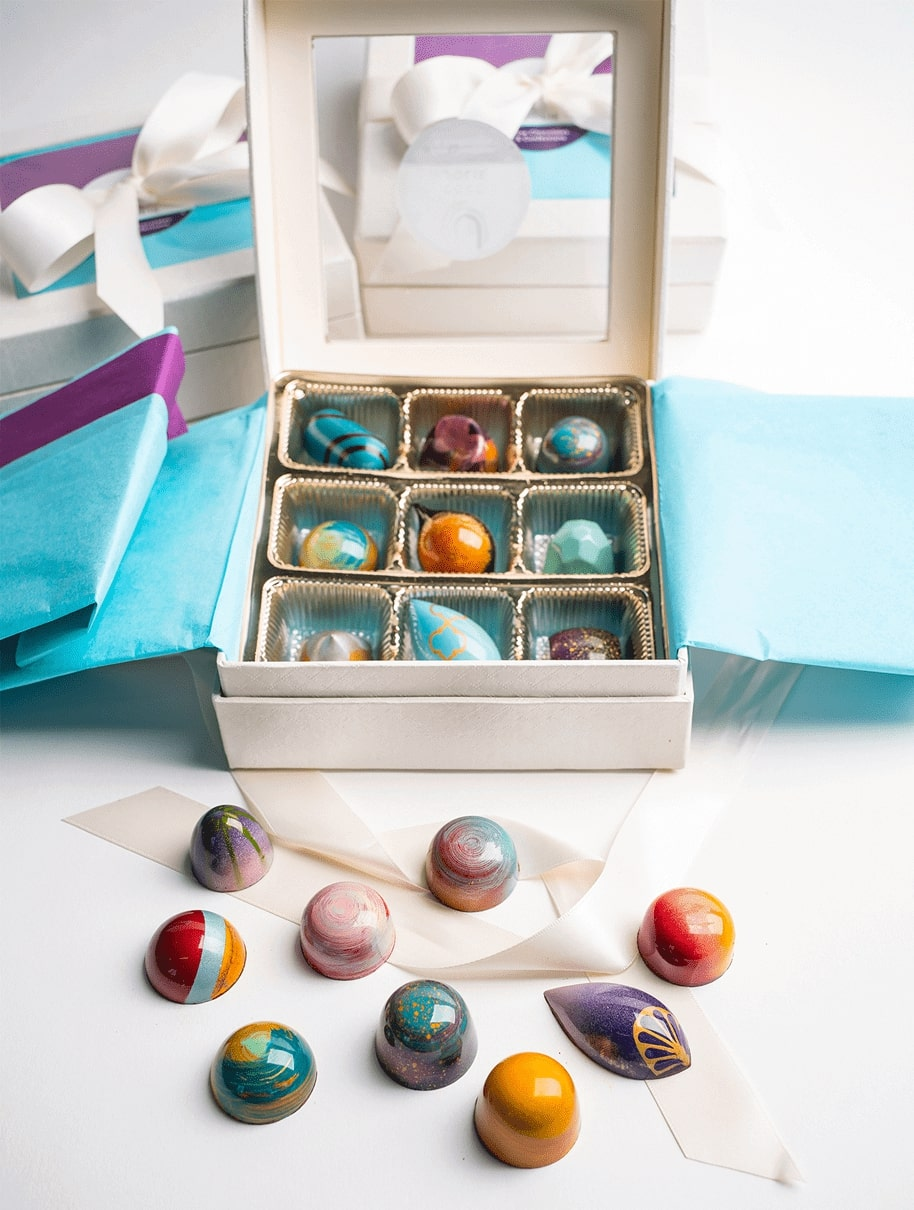 Nine Piece Gourmet Chocolate Gift Box - Handmade Chocolates and Bonbons