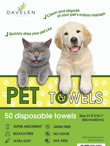 Pet Towels | Disposable | Large 31.5 by 15.7 | 20 Count