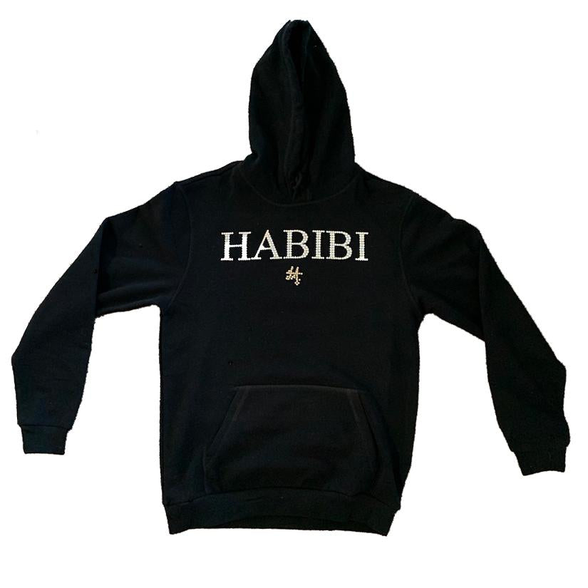 Classic Black Habibi Hoodie with Crystals