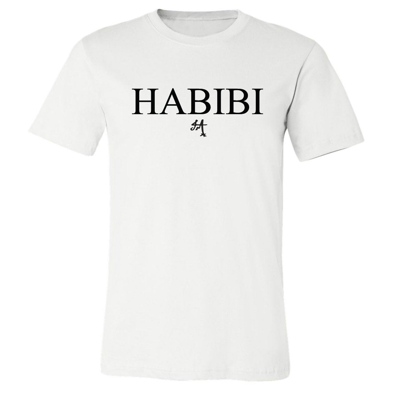Classic White and Black Habibi Crewneck Tee