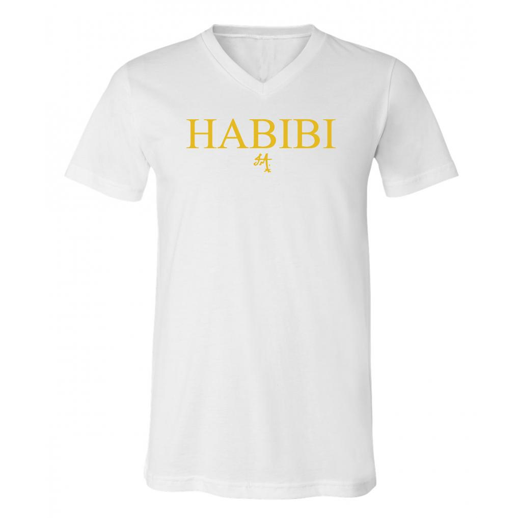 Classic White and Gold Habibi V-Neck
