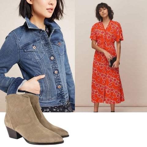 Denim and printed dress styling