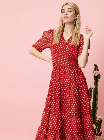 Scarlet Whistle Midi Wrap Dress