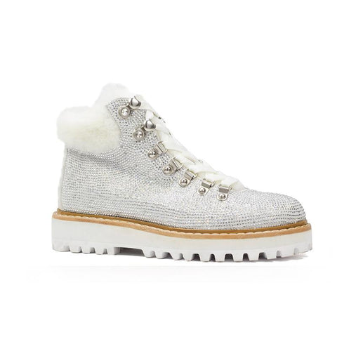 White glitter and faux fur flat ankle boots from Lola Cruz